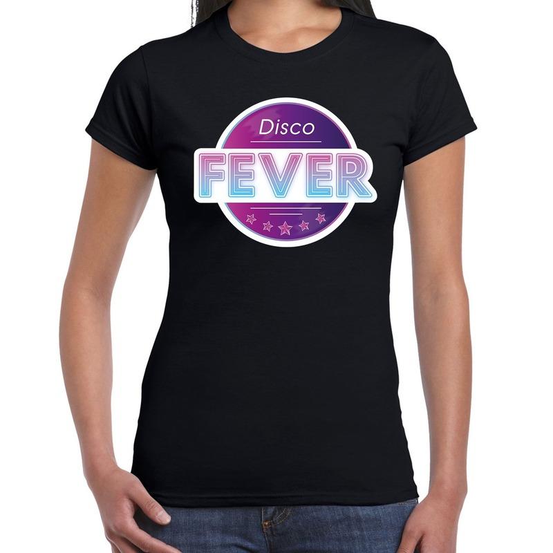 Disco fever feest t-shirt zwart voor dames