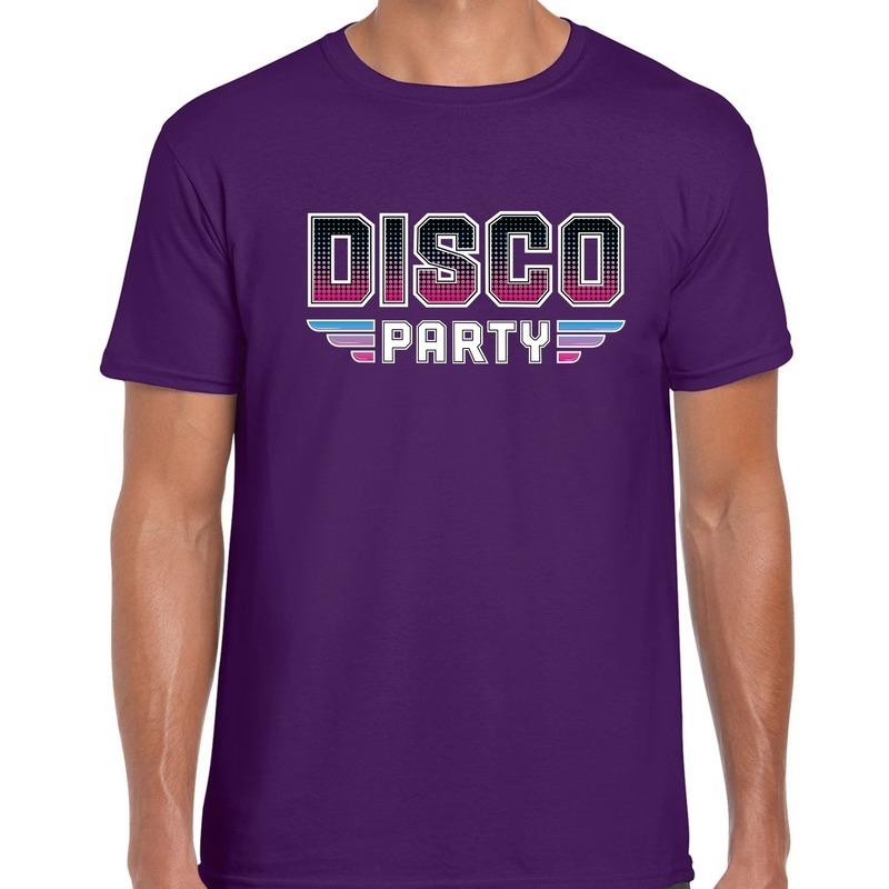 Disco party feest t-shirt paars voor heren