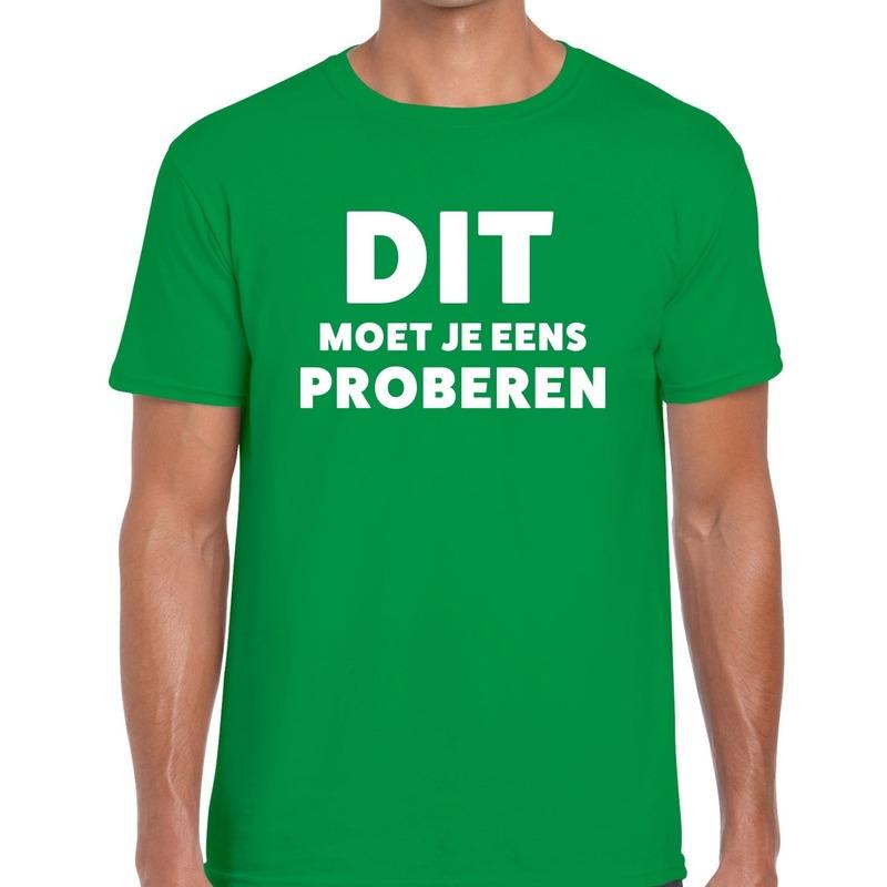Dit moet je eens proberen beurs-evenementen t-shirt groen heren
