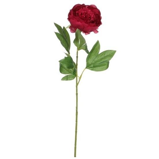 Donkerroze pioenroos kunstbloem 76 cm
