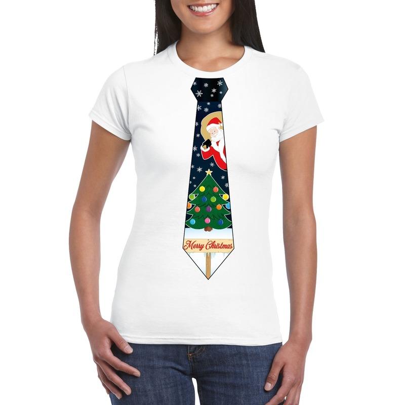 Fout kerst t-shirt wit met kerstboom stropdas voor dames