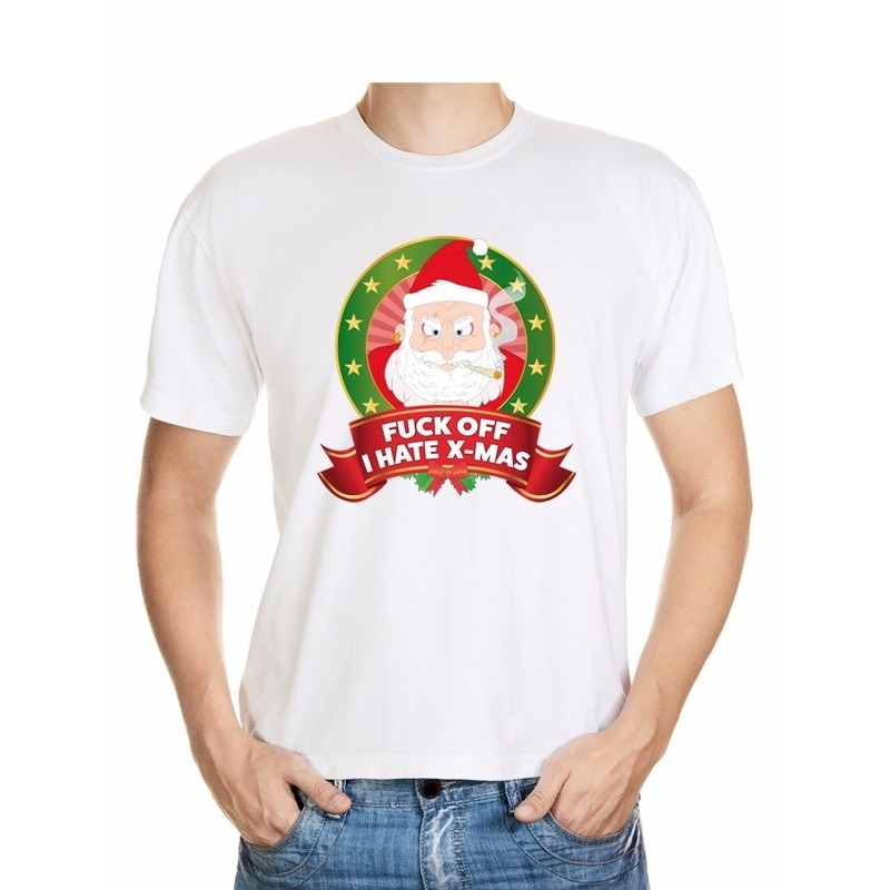 Foute Kerst t-shirt wit Fuck off I hate x-mas heren