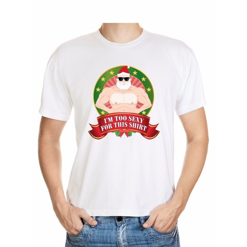 Foute Kerst t-shirt wit Im too sexy for this shirt heren