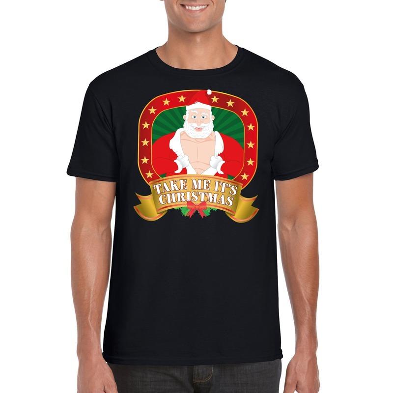 Foute Kerst t-shirt zwart take me it's christmas