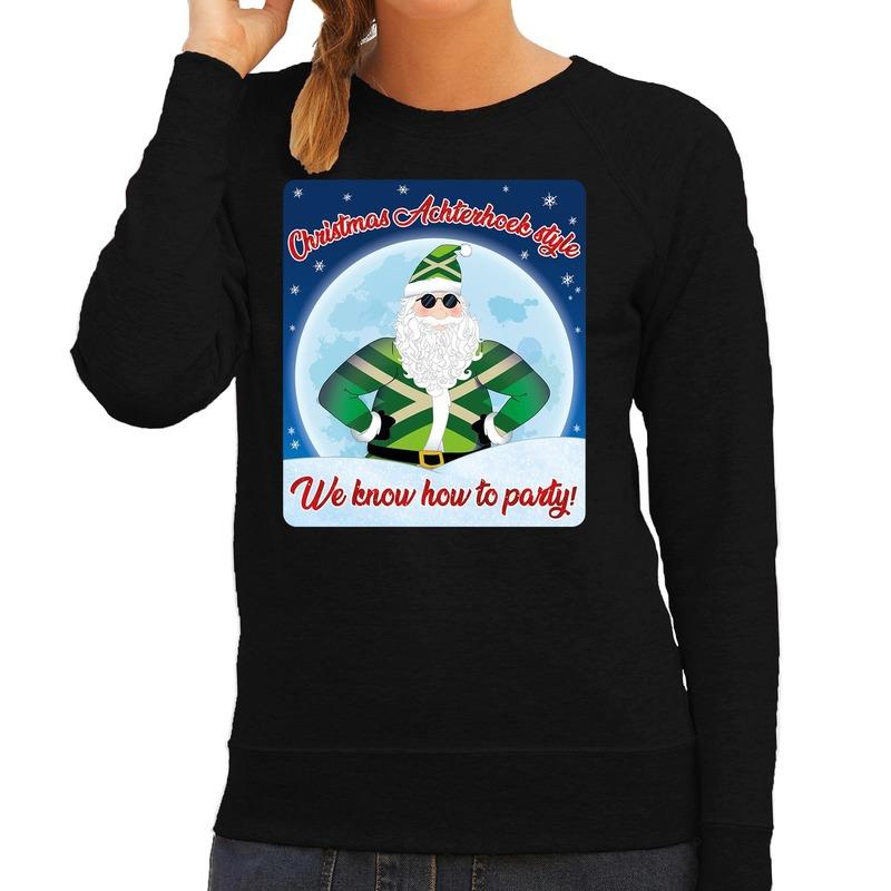 Foute kersttrui Christmas Achterhoek style zwart voor dames