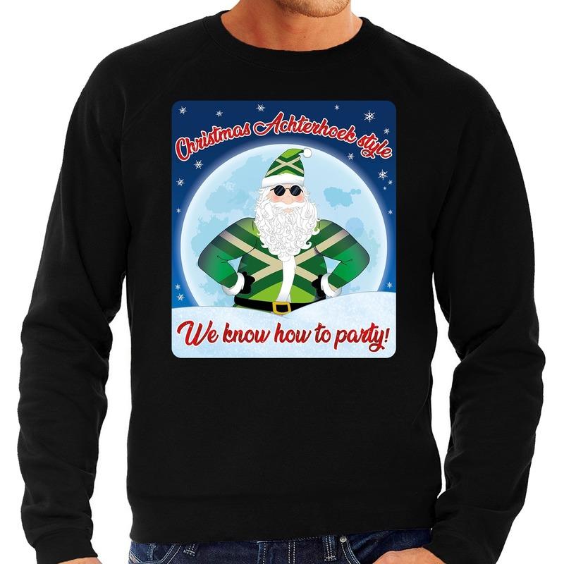 Foute kersttrui Christmas Achterhoek style zwart voor heren