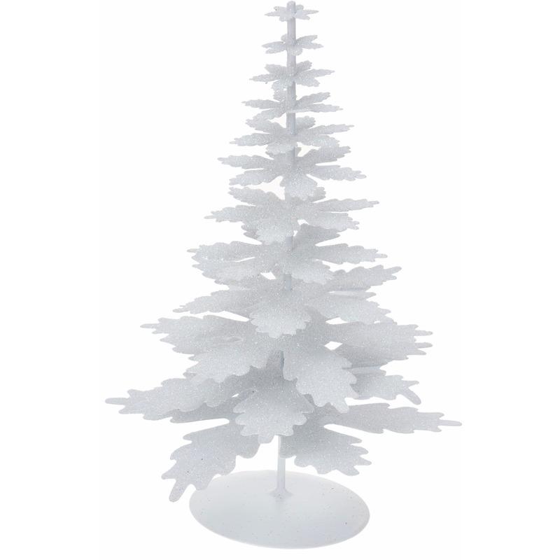 Glitter versiering kerstboom wit
