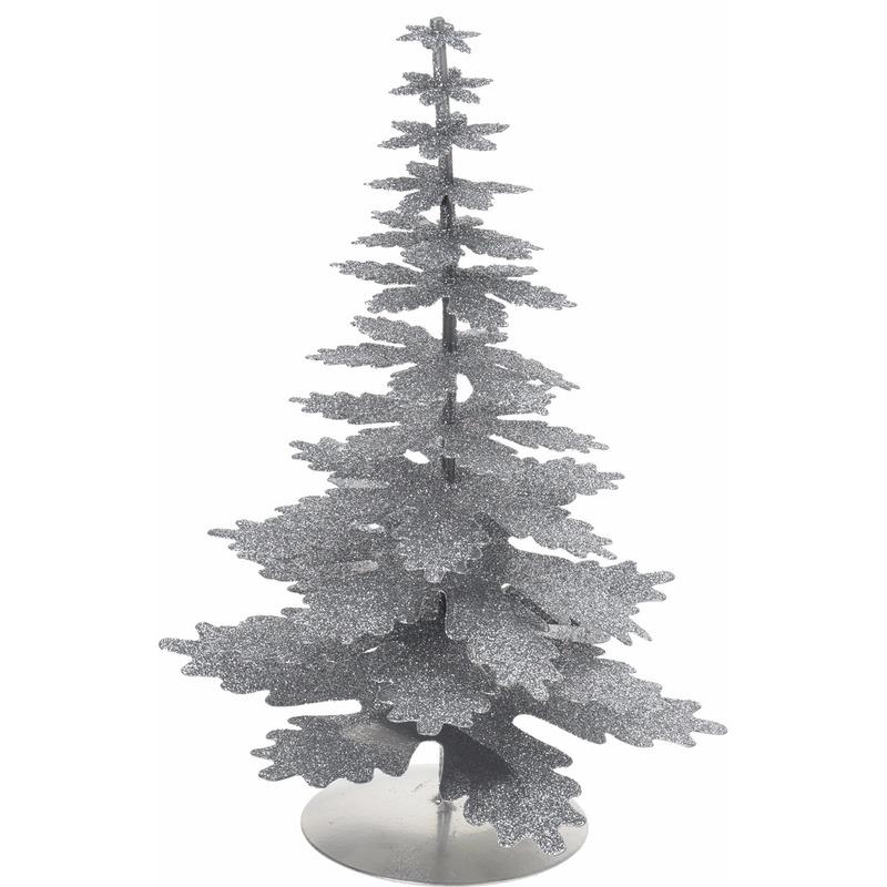 Glitter versiering kerstboom zilver