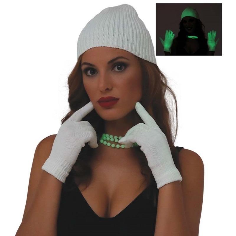 Glow in the dark verkleed handschoenen wit voor dames one size
