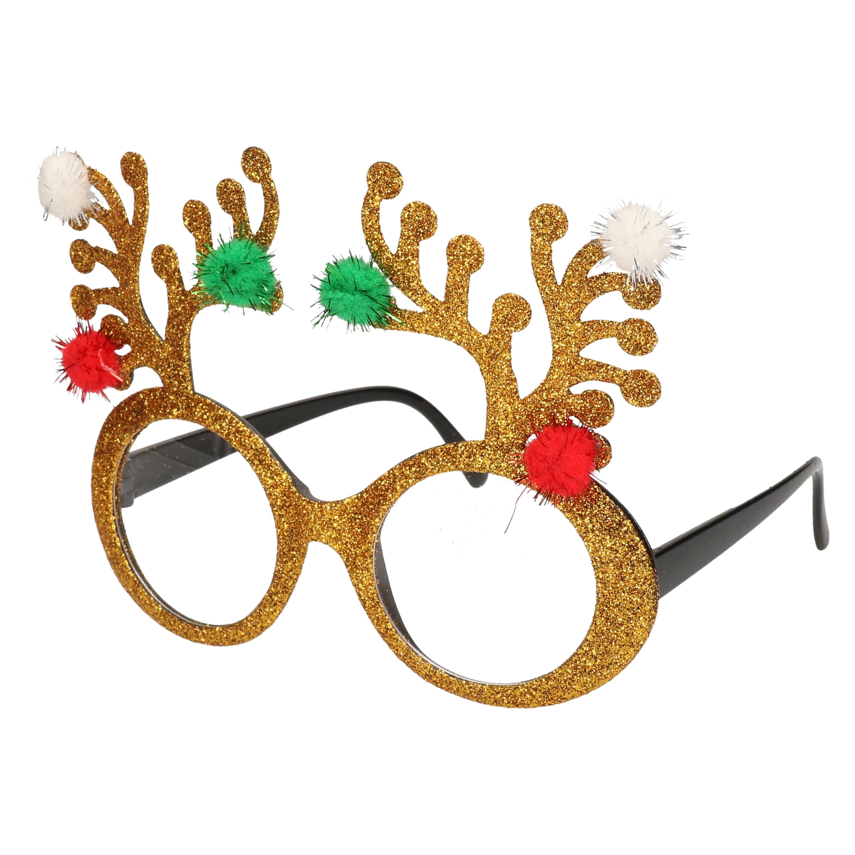 Gouden rendier brillen-feestbrillen voor volwassenen