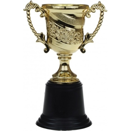 Gouden trofee-prijs beker met oren 15 cm
