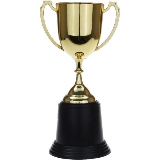 Gouden trofee-prijs beker met oren 22 cm