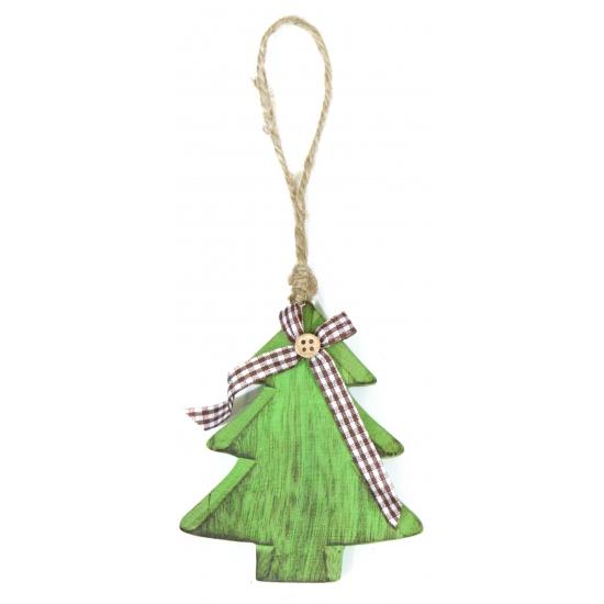 Groen kerstboompje van hout hanger 11 cm