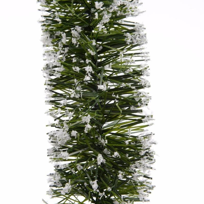 Groene/sneeuw kerstslinger 7 x 200 cm kerstboom versieringen