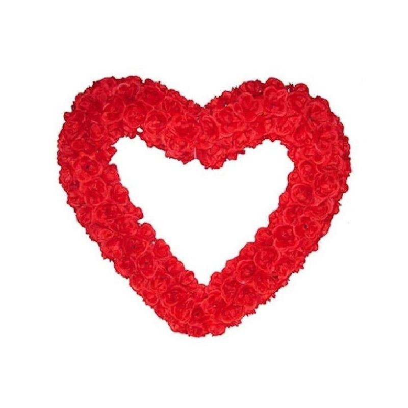 Groot decoratie hart gevuld met rode rozen 70 cm.