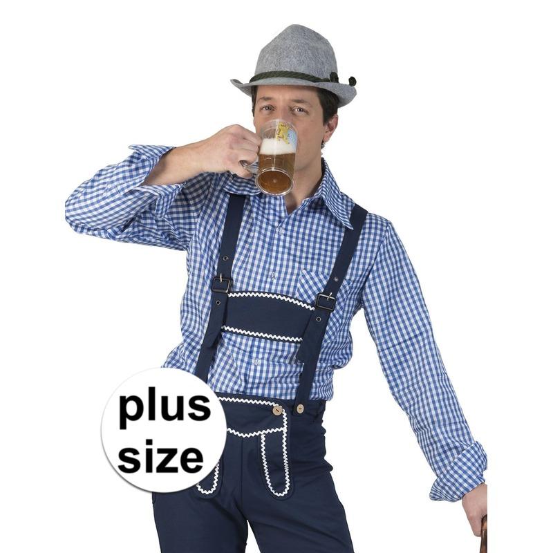 Maat Overhemd Heren.Grote Maat Blauw Wit Geruit Tiroler Verkleed Overhemd Voor Heren In