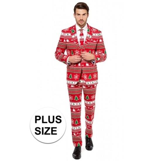 Grote maten heren kostuum met kerstboom print. rood getailleerd pak voor heren met een all over print in ...