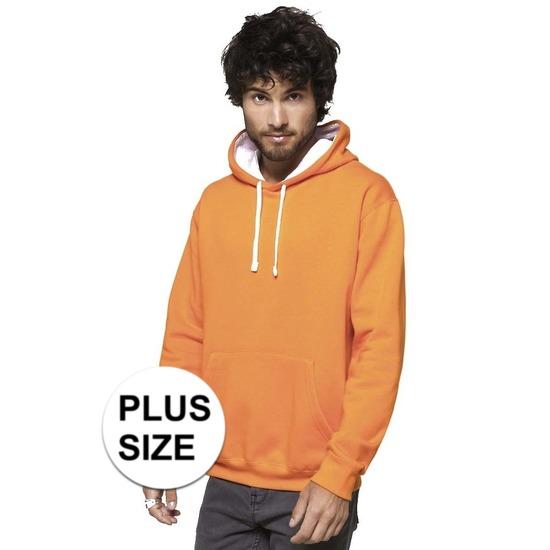 541e10185d6 Grote maten oranje/witte sweater/trui hoodie voor heren in oranje ...