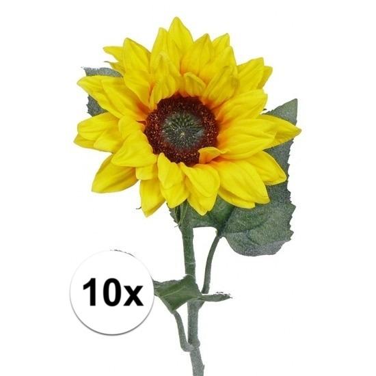 10 kunst zonnebloemen 81 cm. 10 kleine kunst zonnebloemen met drie bladeren en een prachtige bloem met een ...