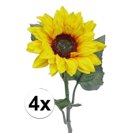 4 kunst zonnebloemen 81 cm. 4 kleine kunst zonnebloemen met drie bladeren en een prachtige bloem met een ...