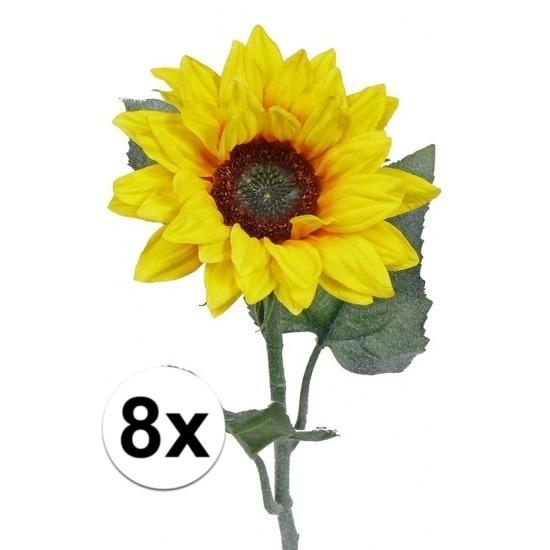 8 kunst zonnebloemen 81 cm. 8 kleine kunst zonnebloemen met drie bladeren en een prachtige bloem met een ...