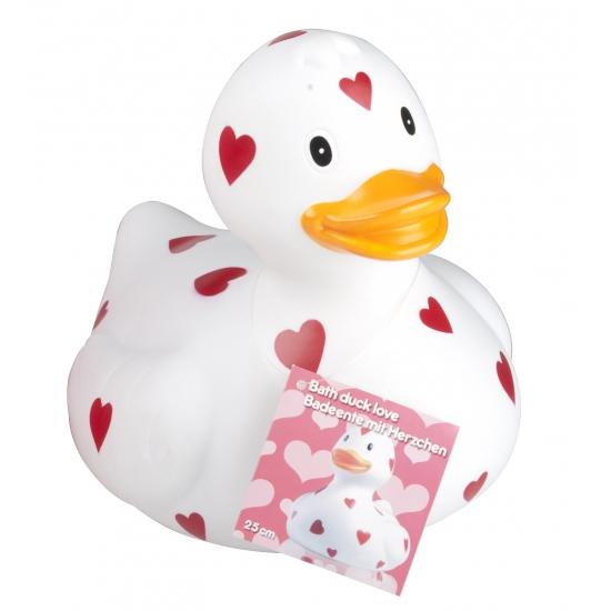 Witte badeend met hartjes 25 cm. rubberen witte badeend met rode hartjes. het eendje is ongeveer 22 x 20 x 25 ...