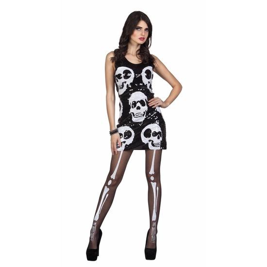 1adc6c80b359fa Halloween schedel jurkje met pailletten. een zwart dames jurkje met witte  schedels van pailletten.