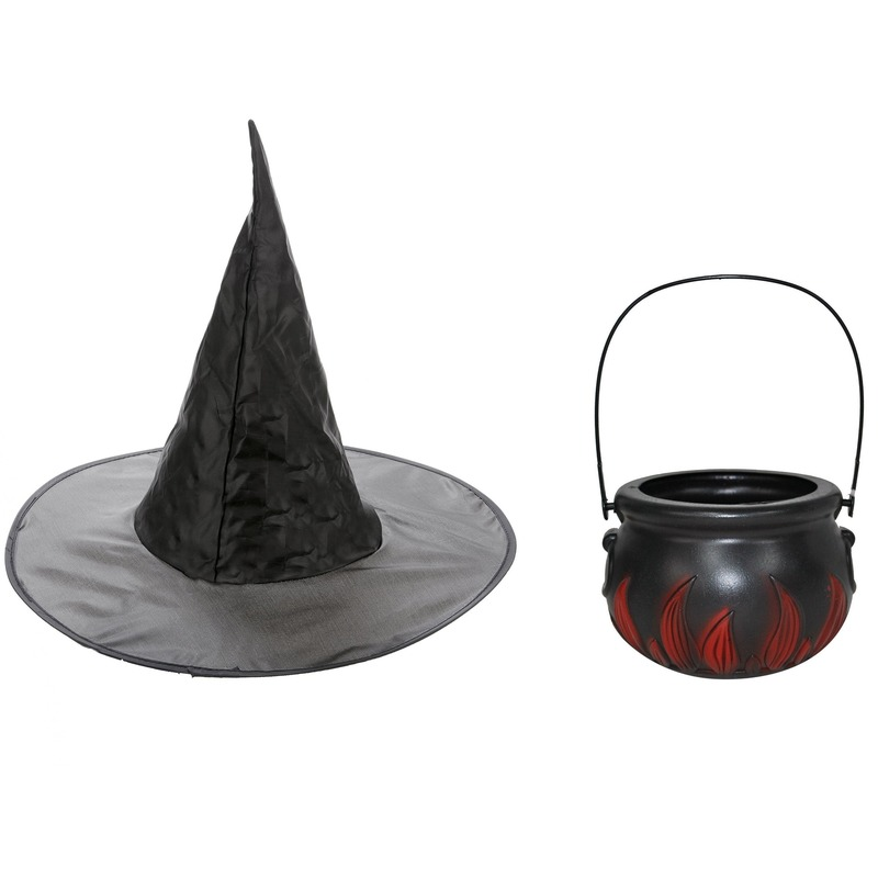 Heksen accessoires set hoed met ketel 15 cm voor meisjes