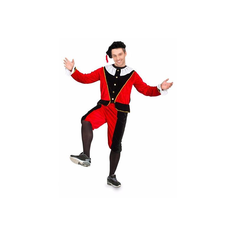 Heren pietenpak rood/zwart grote maat. dit pietenpak bestaat uit een jasje, broek en baret en is gemaakt van ...