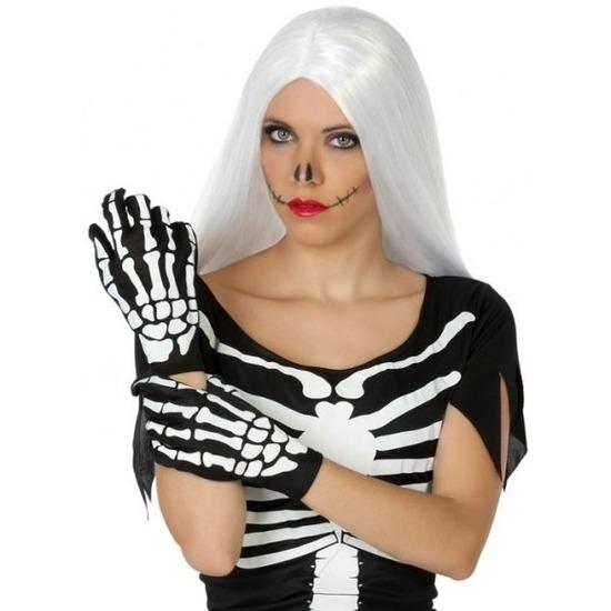 Horror skelet handshoenen zwart/wit voor dames