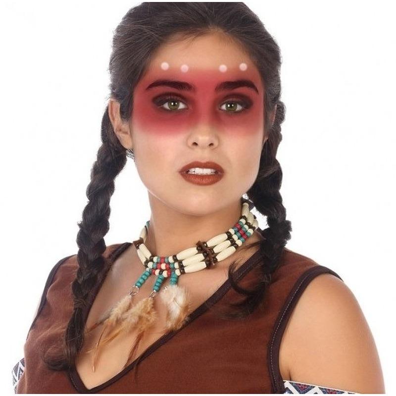 Indianen verkleed accessoire ketting met kralen en veren