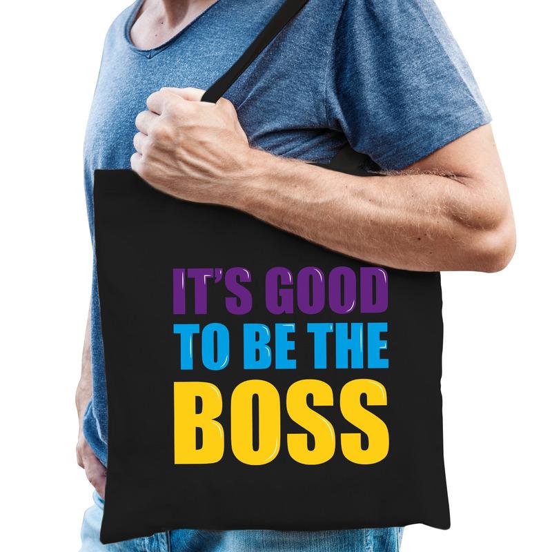 Its good to be the boss fun tekst kado katoenen tas zwart voor heren. dit zwart katoenen tasje is eenzijdig ...