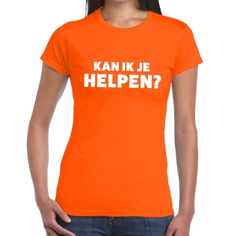 Kan ik je helpen beurs-evenementen t-shirt oranje dames