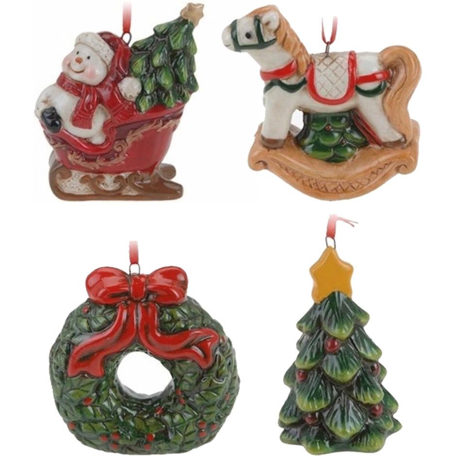 Keramiek kerstboom hangers setje van 4x stuks ornamenten-figuren 8 cm