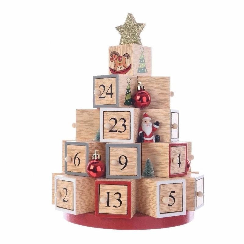 Kerst decoratie adventskalender kerstboom MDF 28 cm