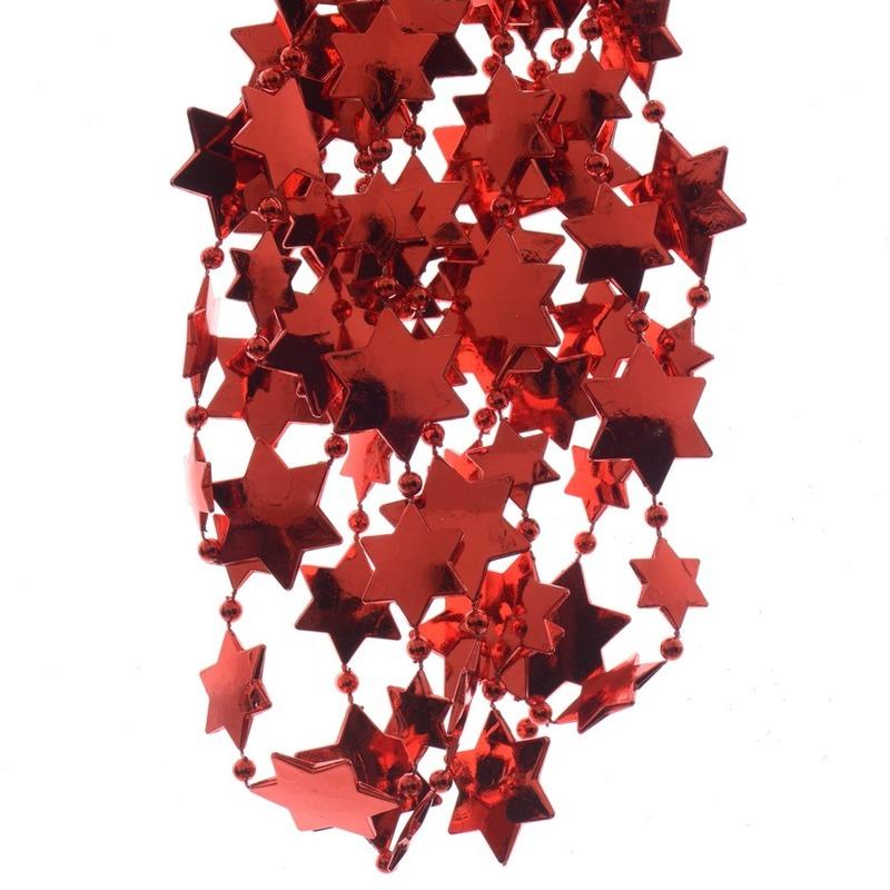 Kerst rode sterren kralenslingers kerstslingers 270 cm