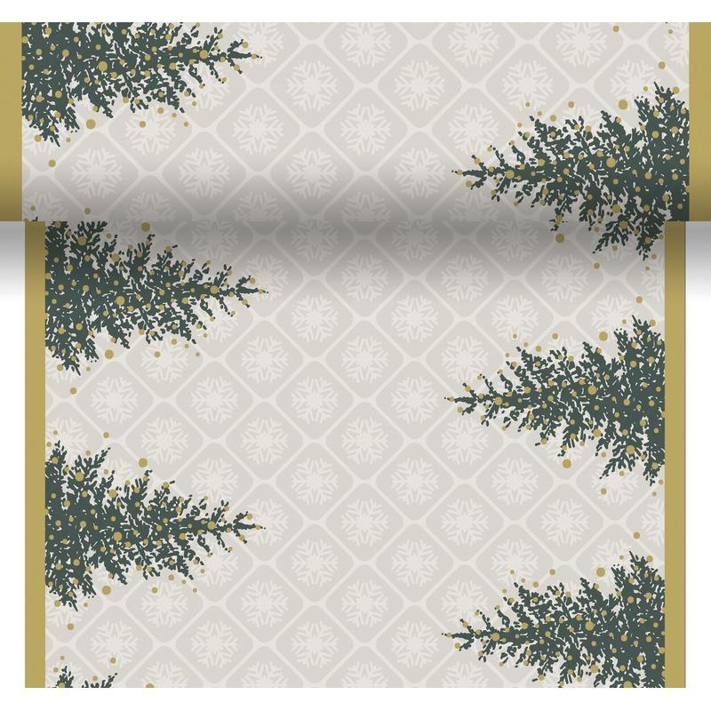 Kerst thema tafelloper-placemats grijs-goud kerstboom 40 x 480cm