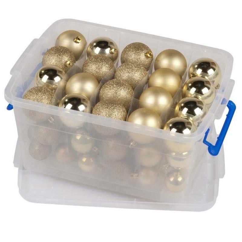 Kerstballen-kerstversiering goud in box 70 stuks