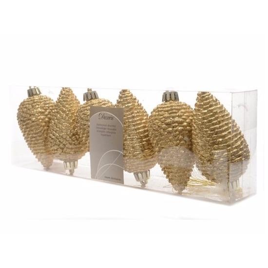 Kerstboom deco kerstbal dennenappels goud Christmas gold 6 stuks