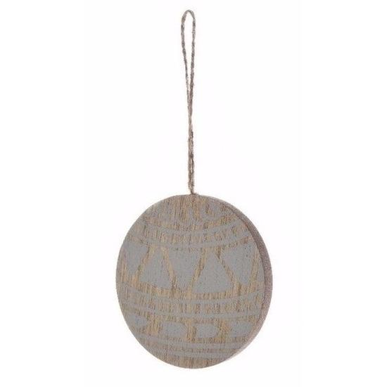 Kerstboom decoratie bal hanger hout-blauw 8 cm
