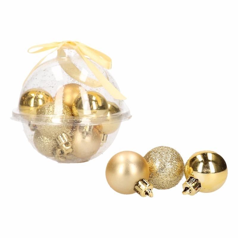Kerstboom decoratie gouden mini kerstballetjes 3 cm 12x stuks