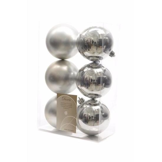 Kerstboom decoratie kerstballen mix zilver 12 stuks