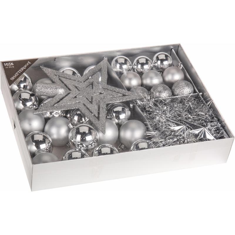 Kerstboom decoratie set 33-delig zilver