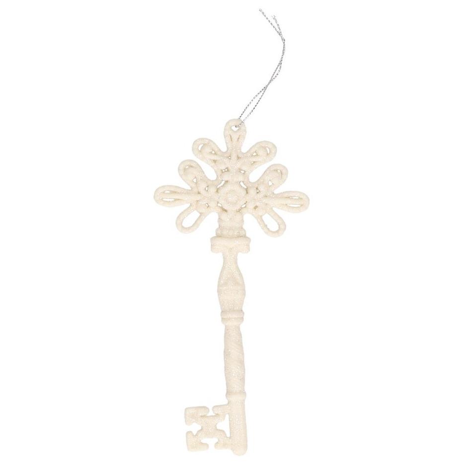 Kerstboom decoratie sleutels wit 17 cm met glitters