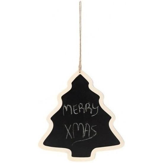 Kersthanger kerstfiguur houten krijtbord kerstboom vorm 22 cm