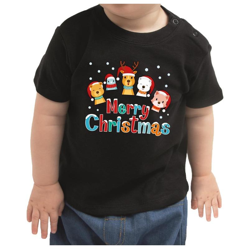 Kerstshirt Merry Christmas diertjes zwart peuter jongen-meisje
