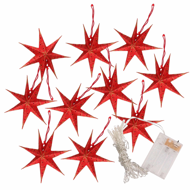 Kerstverlichting op batterijen lichtsnoer met rode papieren sterren 250 cm