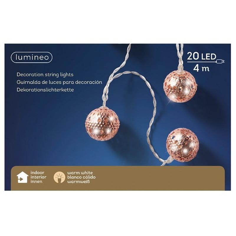 Kerstverlichting warm witte open bolletjes 20 lampjes