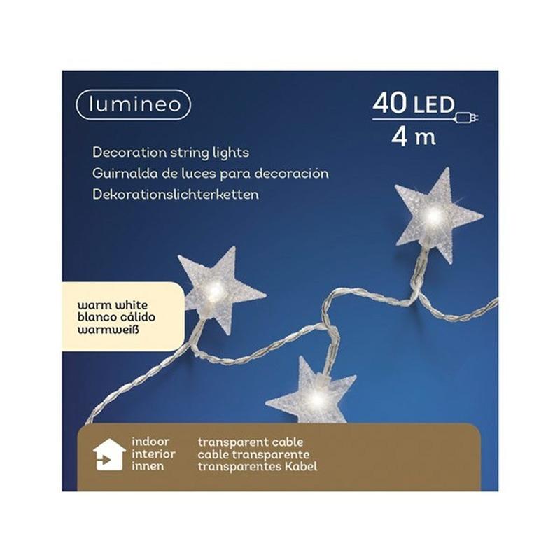 Kerstverlichting warm witte sterren 40 lampjes