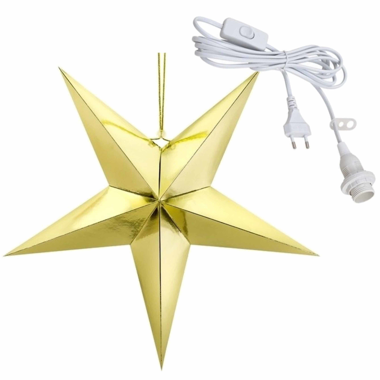 Kerstversiering gouden kerststerren 45 cm inclusief lichtkabel
